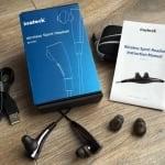 Inateck Bluetooth-Kopfhörer BH1001 mit Verpackung und Zubehör