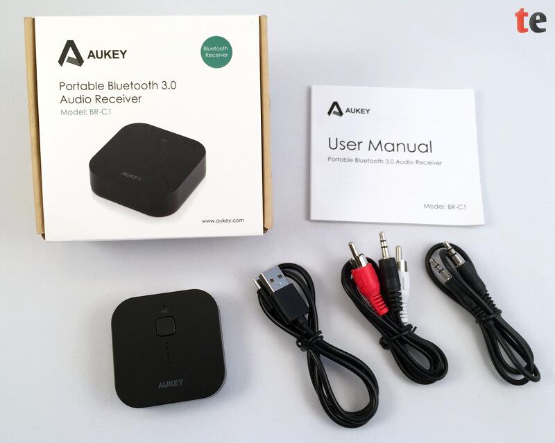 Aukey Bluetooth HiFi Empfänger mit Zubehör und Verpackung