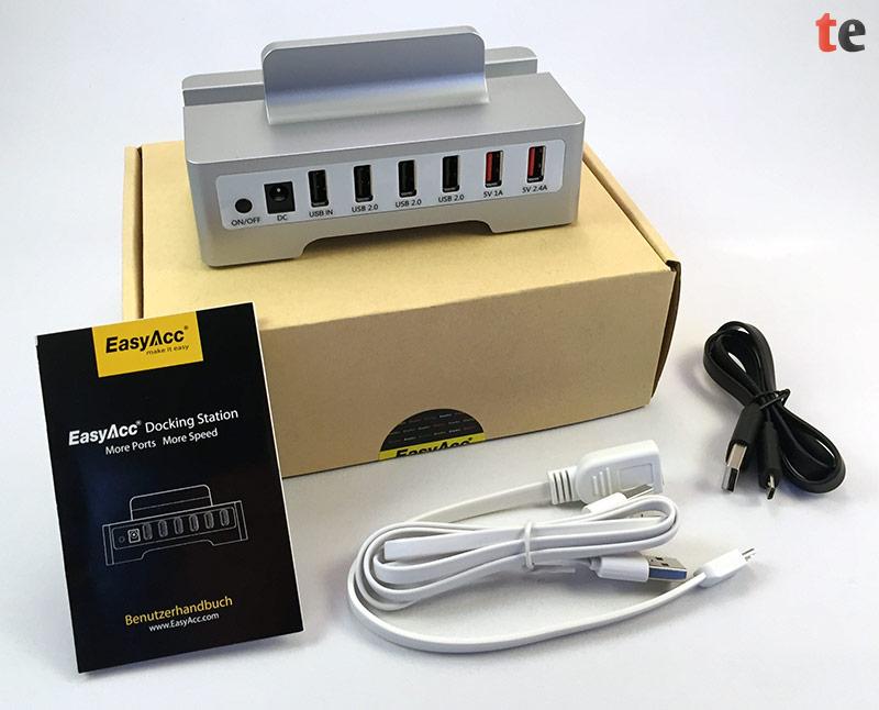 EasyAcc Super Speed USB 2.0 OTG Hub mit Zubehör