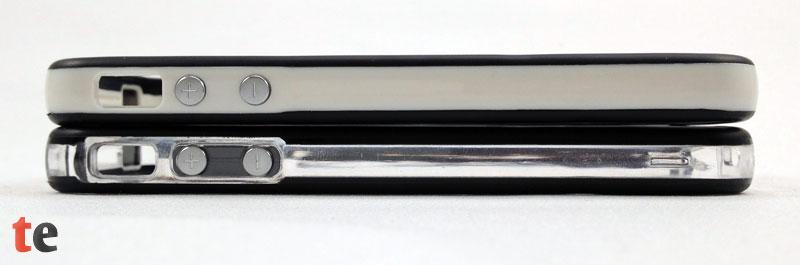 In der Seitenansicht der beiden vau Edge Bumper sind die silbernen Knöpfe für die Lautstärkeregelung und die Aussparung für den Stummschalter absolut passgenau für das iPhone 4S.