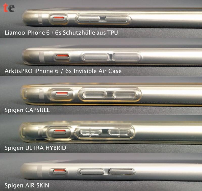 Die getesteten iPhone 6 Schutzhüllen zeigen im direkten seitlichen Vergleich ihre Unterschiede: nur die Spigen CAPSULE und die Spigen ULTRA HYBRID schützen das Display mit einem ausreichend überstehenden Rahmen.
