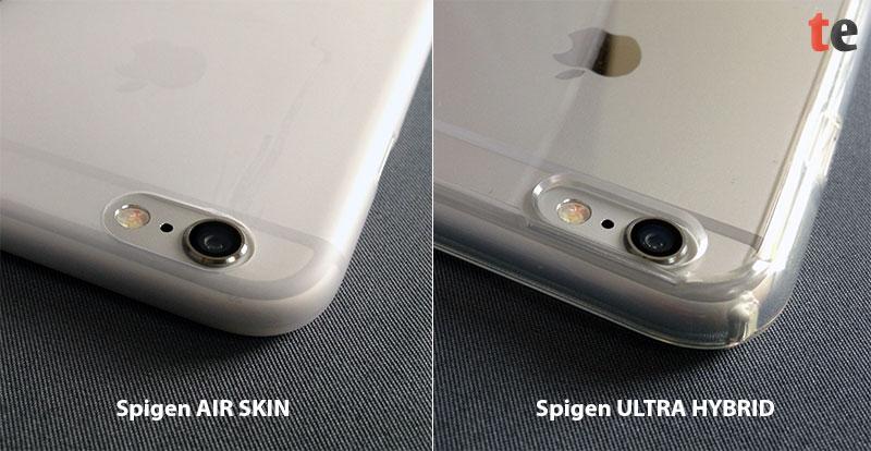 Im direkten Vergleich mit der Spigen Ultra Hybrid lässt sich die extrem dünne Konstruktion der nur 4 Gramm leichten Spigen Air Skin gut erkennen. Diese schützt die Rückseite und Kanten dennoch gut gegen Kratzer.