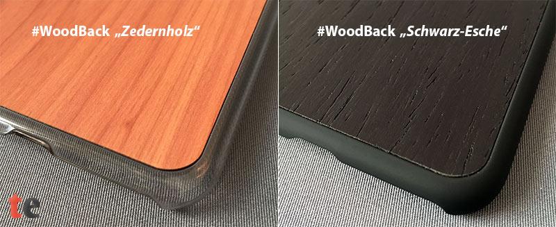 Das rückseitig eingebrachte Echtholzfurnier der #WoodBack Cases ist makellos verarbeitet. Die Holzmaserung kommt bei der Schutzhülle mit Zedernholz-Rückseite besonders gut zur Geltung.