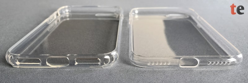 Im direkten Vergleich des vau Hybrid Case (links) mit der wesentlich dünneren mumbi UltraSlim (rechts) sind die integrierten Luftpolster der vau-Hülle zum Schutz der Kanten des iPhone gut erkennbar.