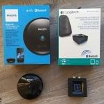 Logitech Bluetooth Audio Adapter samt Zubehör im Vergleich zum Philips AEA2500/12 Bluetooth HiFi Adapter