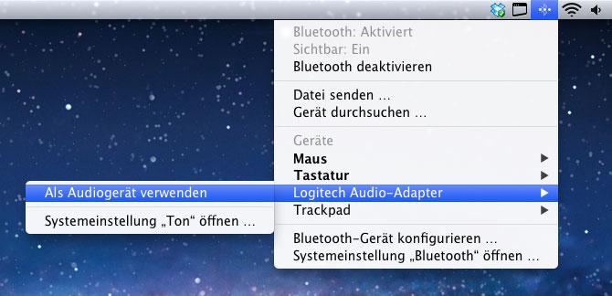 Verwendung des Logitech Musikadapters als Audiogerät über die Bluetooth-Einstellungen unter macOS.