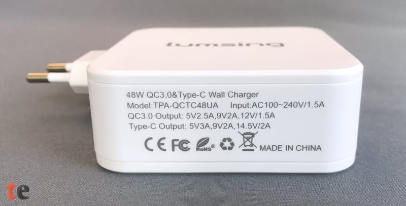 Entsprechend der USB Power Delivery Spezifikation bietet der Lumsing Adapter über USB-C eine maximale Leistung von 29 Watt. Die USB-Ladebuchse kann angeschlossene Geräte über Quick Charge 3.0 mit bis zu 18 Watt versorgen.