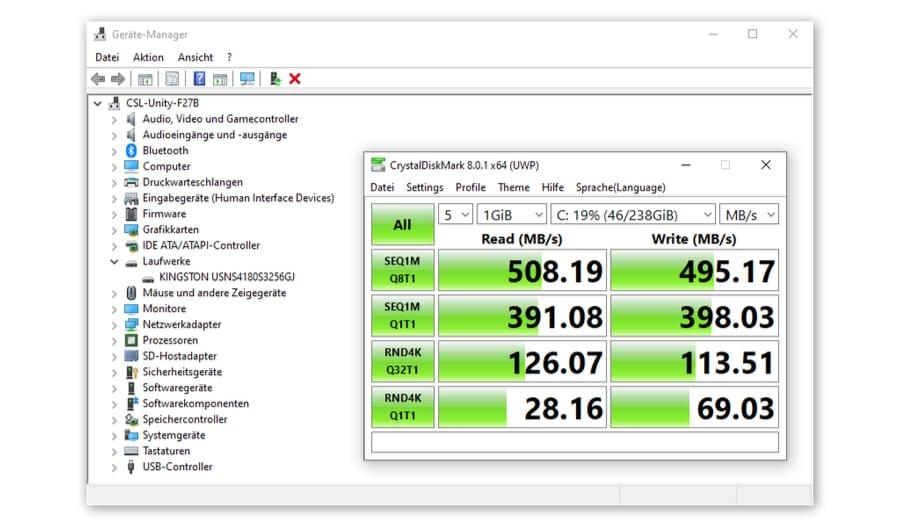 CSL Unity F27 CrystalDiskMark Ergebnisse